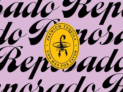 Telson Reposado graphic design lettering typography branding vector brandin brand scorpion design logo crest purple reposado tequila telson