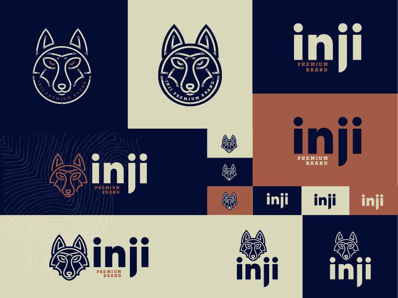 Inji Premium brand assets minimal illustration vector minimal line art illustration icon branding streetwear animal illustration dingo fox wolf