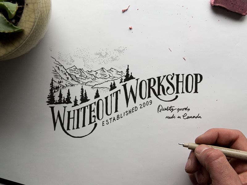 Whiteout Workshop Sketch silkscreen whiteout canada mountain illustration mountains denver designer hand lettering lettering logo design logo branding sketch