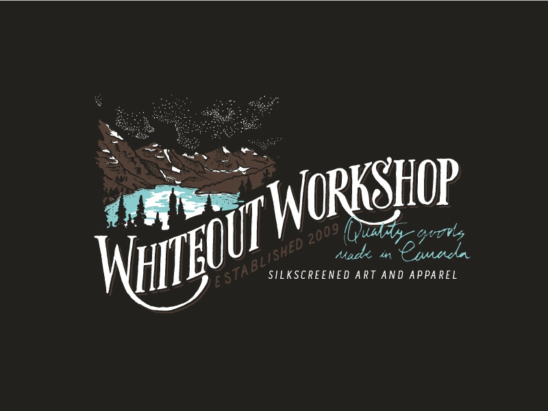 Whiteout Workshop Logo silkscreen typography adventure logo canada mountain illustration mountains denver designer hand lettering logo design logo branding sketch