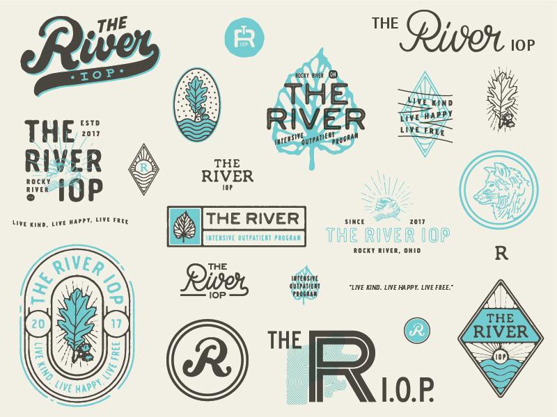 The River IOP hand shake rehabilitation rehabilitation center rehab oak leaf oak leaf leaf illustration typography crest logo river