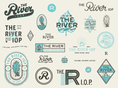 The River IOP hand shake rehabilitation rehabilitation center rehab oak leaf oak leaf leaf illustration typography crest logo river