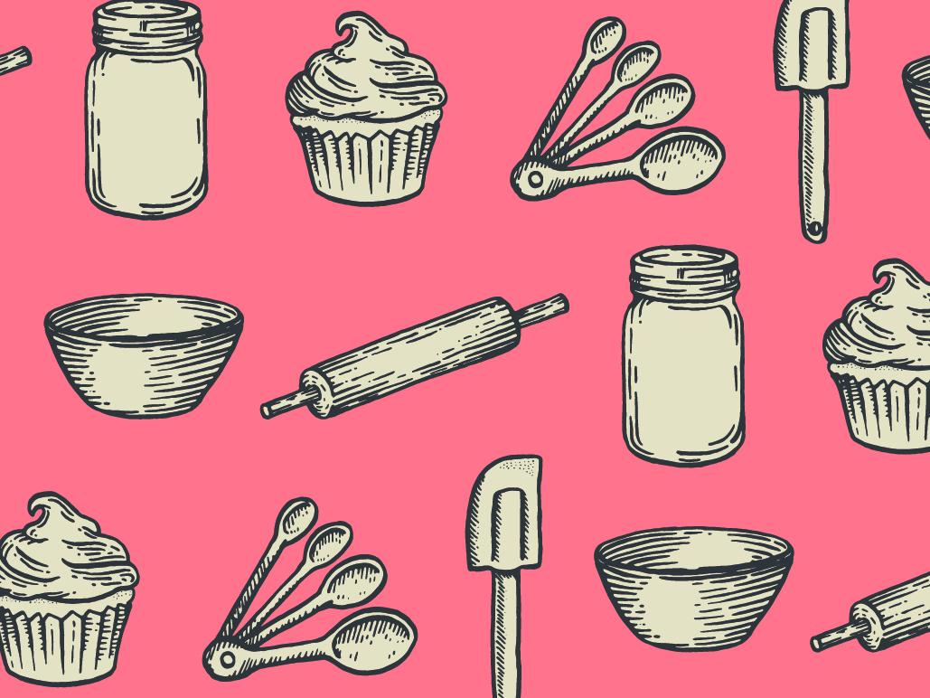 Bake Shop Illustrations branding baking cooking cook book vintage rolling pin lithograph hand drawn cupcake mixing bowl measuring spoons spatula jar illustration