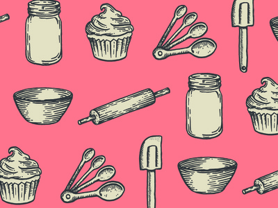 Bake Shop Illustrations branding baking cooking cook book vintage rolling pin lithograph hand drawn cupcake mixing bowl measuring spoons spatula jar illustration