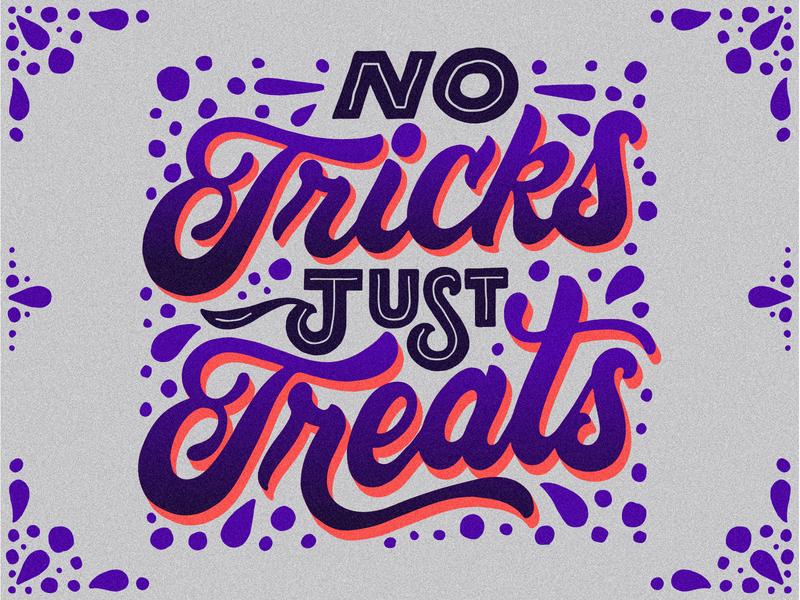 Trick or Treat illustration dots holliday ipad rgb purple orange typography hand lettering lettering treat trick halloween trick or treat