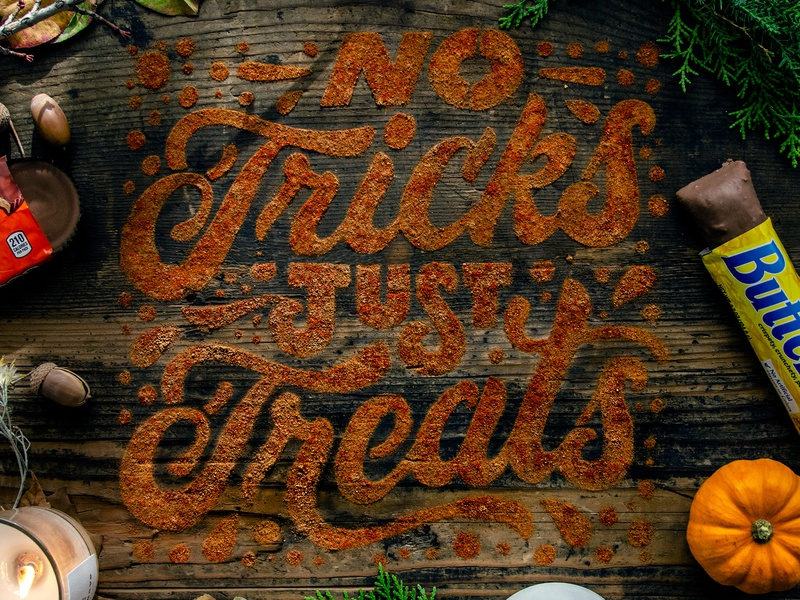 No Tricks Just Treats visible holiday ad holiday lettering spices paprika cinnamon pumpkin font script spooky candy treat trick trick or treat halloween lettering food lettering typography tactile typography