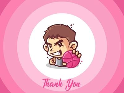 Hello Dribbble! dribbble vector icon design logo thank you thank shot first