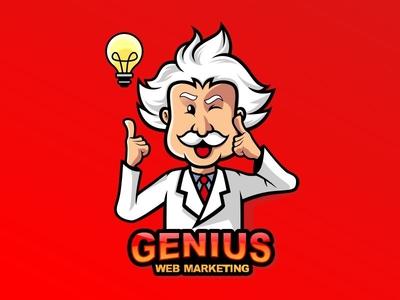 Einstein Genius cartoon logo mascot illustration cartoon vector logo