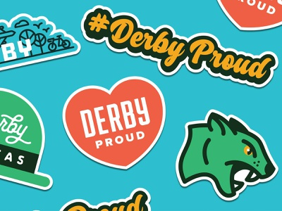 Derby Proud Sticker Set vector mark green flat identity illustration design clean branding logo