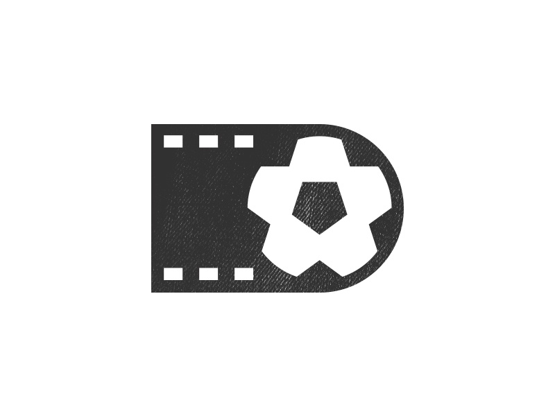 SOCCER FILM ICON symbol film soccer icon logo ball black clean flat