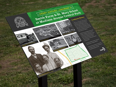 Historical Landmark Signage map anniversary design display branding signage