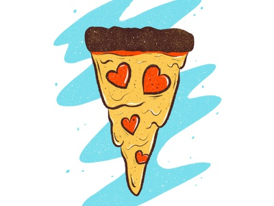 Pizza love design hearts procreate texture illustration pepperoni pizza