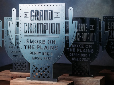 Custom Cut BBQ Trophies knife barbecue trophy bbq