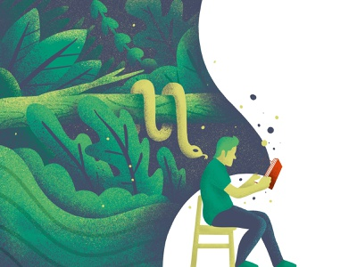 Reading is Fun! book man illustration illustrate snake imagination reading procreate texture design logo