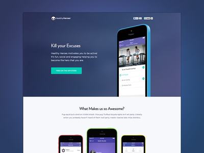 Kill your Excuses landing page website web design app product site ios fitness exercise