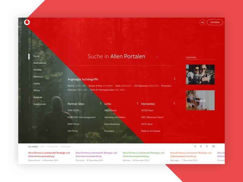 AskVodafone Home web news landing page search ui corporate enterprise business web app web site portal intranet
