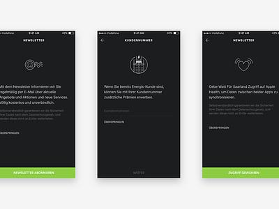 On-Boarding registration sign up illustrations icons dark mobile app ios on boarding