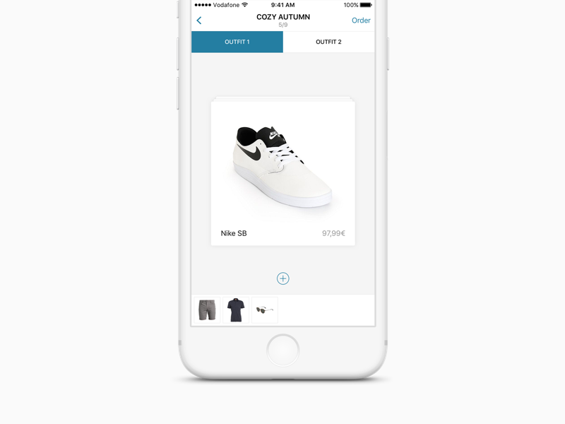 Outfittery Cart mobile basket cart minimal cloth shopping commerce card ios