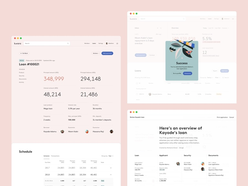 Loan table overlay modal finance app finance data visulization minimal clean web app web app illustration ux ux  ui ui