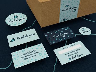 Hook & Paw Branding etsy shop paw print business cards dimension logo branding