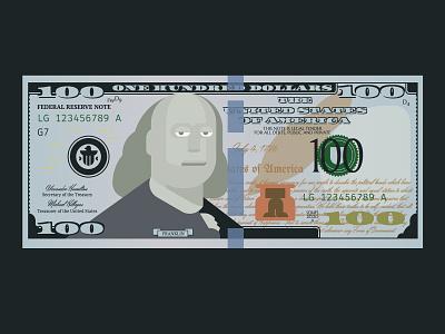 HTML $100 codeart webdesign css hmtl cash franklin 100 bill money illustration codepen code