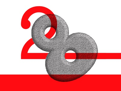 Overlap typography color red dots vector multiply type number 28 twenty-eight