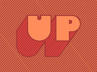 What up block shadow type diagonal lines stripes orange word up
