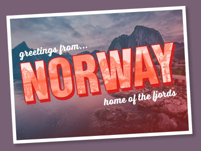 greetings from Norway, home of the fjords vintage education norway lesson postcard tutorial photoshop