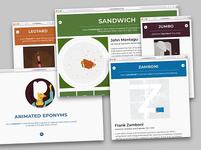 Animated Eponyms Website Screenshots responsive layout alphabet responsive web design screenshots website web