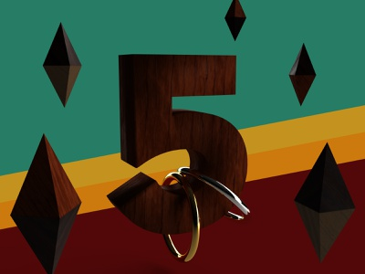 Wooden Five anniversary floating 3d dimension five 5 number wood