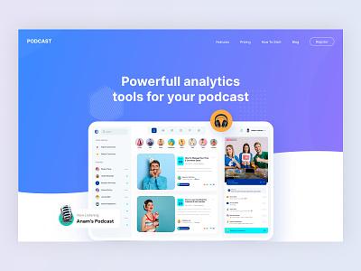 Landing page for Podcast tools web design hero image hero header landing page figma ui ux interaction design design