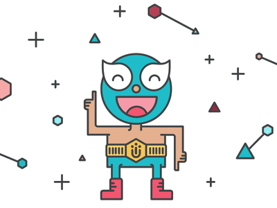 New groove cute wrestler blue illustration character emotion emoji luchador smile laugh