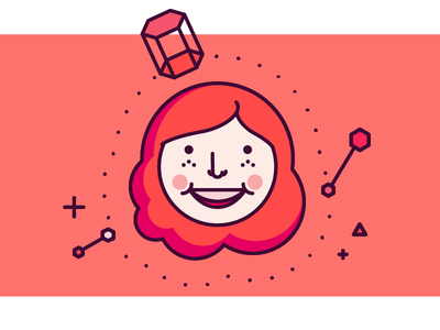 ginger vibes 3d red hair ginger people cute monotone line illustration person illustration girl hexagon