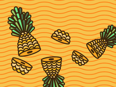 fruit ninja inspired, obviously. yummy cute stroke line illustration yellow food porn food fruit ninja slice pineapple illustration fruit