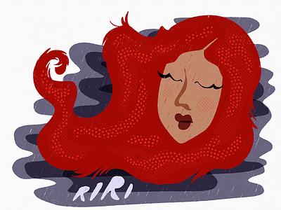 Rihanna songstresses tresses hair lipstick texture bright cute singer music people ipad art illustration