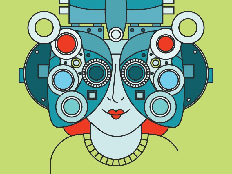 Eye Sore red hair ginger woman lips lipstick phoropter illustration tech optometrist optometry glasses