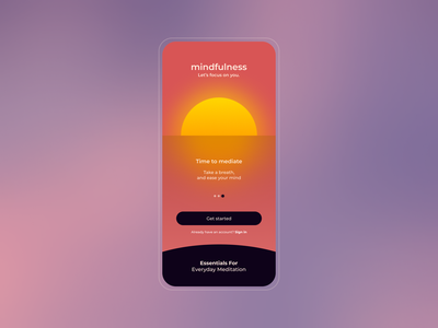 Daily UI - Meditation App mindfulness meditation dailyui