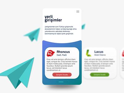 Yerli Girisimler App UI enterpreneur app ui design applicaiton