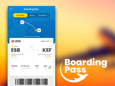 Boarding Pass UI Design airplane ui  ux ui airport boarding pass application app uidesign