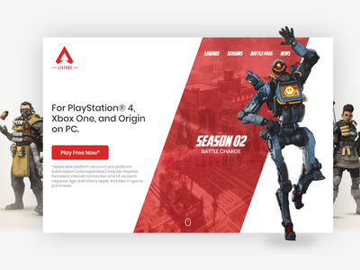 Apex Legends website game cover game apex legends apex ui dribbble ui design