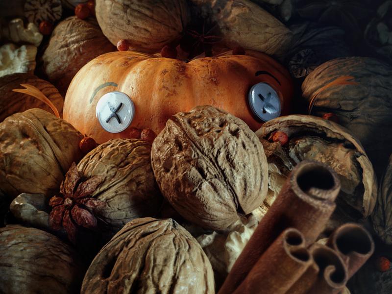 Halloween | Trick or Treat? walnut nut nuts character food 3d pumpkin halloween