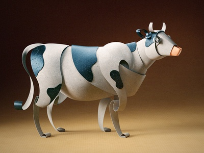 Quilled | Nestlé Milkybar cow character 3d paper quilled quilling illustration