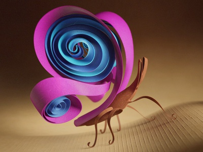 Quilled | Nestlé Milkybar butterfly character 3d design paper quilled quilling illustration