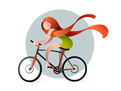 QUILLED 2D | bicyclist vector design quilling character illustration