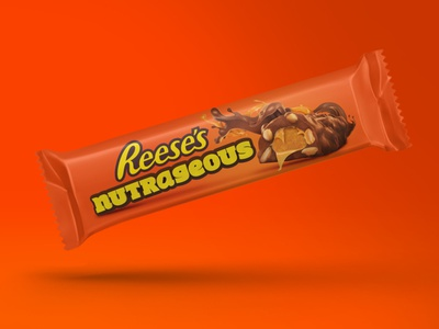 Reeses Nutrageous Packaging orange sweet sweets composition reeses chocolate candy bar candy packaging design packaging logo typography design