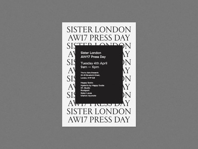 Sister London AW17 Press Day Invitation