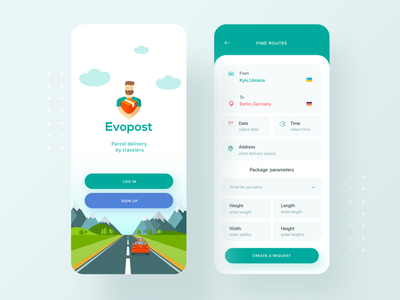 Evopost app - Package delivery by travellers ios travel delivery post web intro package mobile startup parcel clean ui travel app delivery app ui