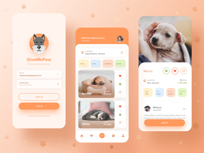 Give Me Paw charity pet adoption app friendly friendly animal volunteer ui  ux ui design uidesign uiux ux shelter cats cat dog pets pet app logo branding clean ui ui charity