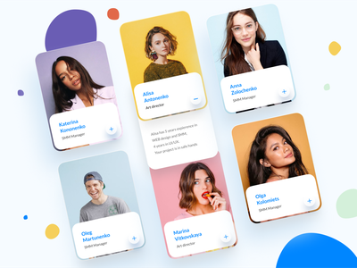 Ui cards for Social media agency website💙 smm landing creative userinterface socialmedia uidesign team design vector website clean ui web design web ui