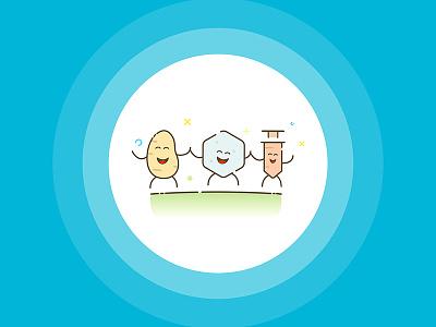 Cukriukas app characters character flat carbs insulin glucose sugar diabetics diabetes ux ui app mobile